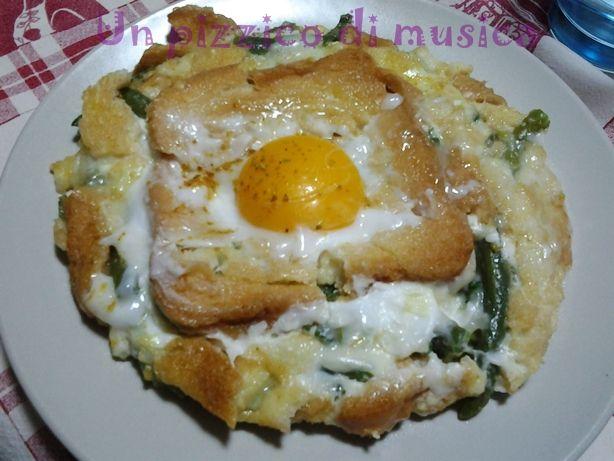 Tortino di fagiolini al curry con uovo