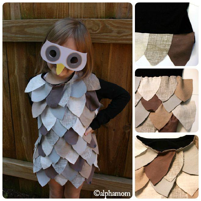 La civetta:  Se siete alla ricerca di un costume di Carnevale per il vostro bambino ecco un modo semplice semplice di  trasformare una vecchia t-shirt in un perfetto costume da civetta, in un paio d'ore.   http://www.acomealice.it/2013/02/idee-per-costumi-di-carnevale-fai-da-te/