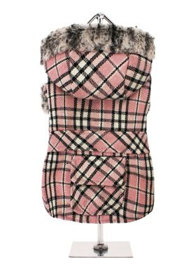 Pink Tartan Coat with Fur Trimmed Hood for girl dogs