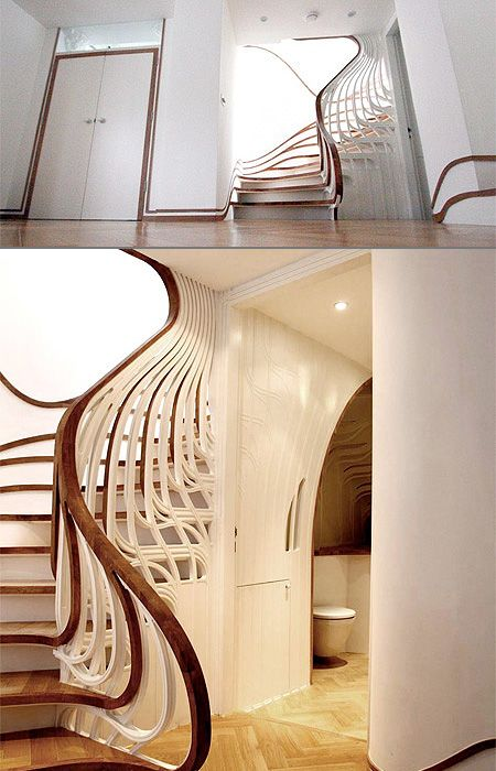 Fluid Staircase: Interior Design, House Ideas, Escalera Interior, Beautiful Interiors, Stairway Idea, Interior Inspiration