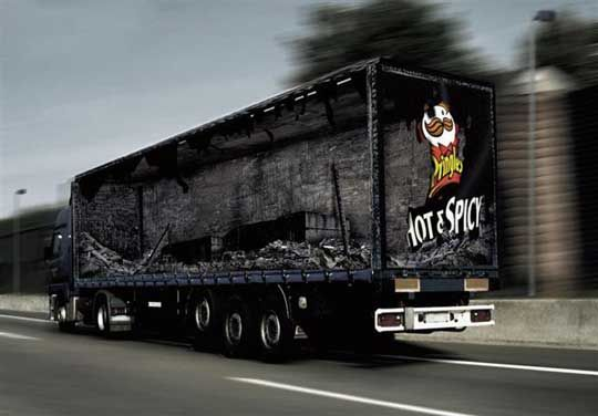 "German Truck ART (for Pringles-Hot & Spicy) - The ""inside"" of the trailer appears as though it has been through a fire.  _____________________________ Reposted by Dr. Veronica Lee, DNP (Depew/Buffalo, NY, US)"