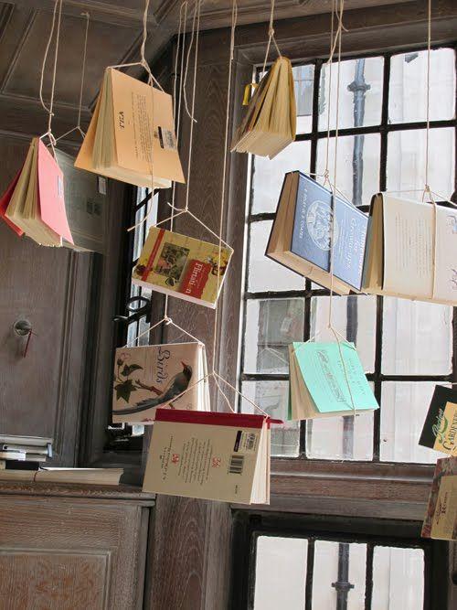 Exhibition hanging books.