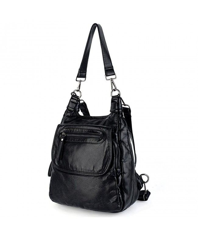 Women Backpack PU Washed Leather Purse Convertible Ladies Rucksack Shoulder  Bag - Black - CO1820DCIOU   20e05373018be