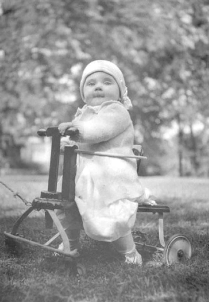 margaret truman 1924 25 margaret truman being pulled on toy in the yard