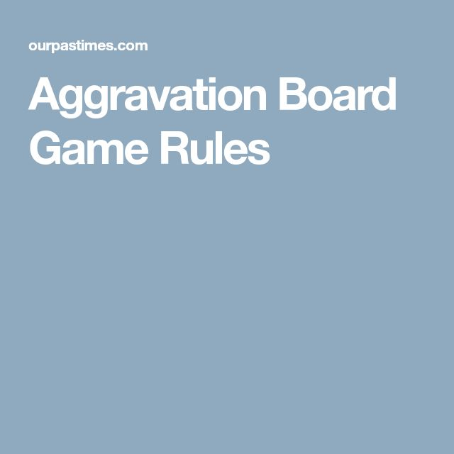 Aggravation Board Game Rules