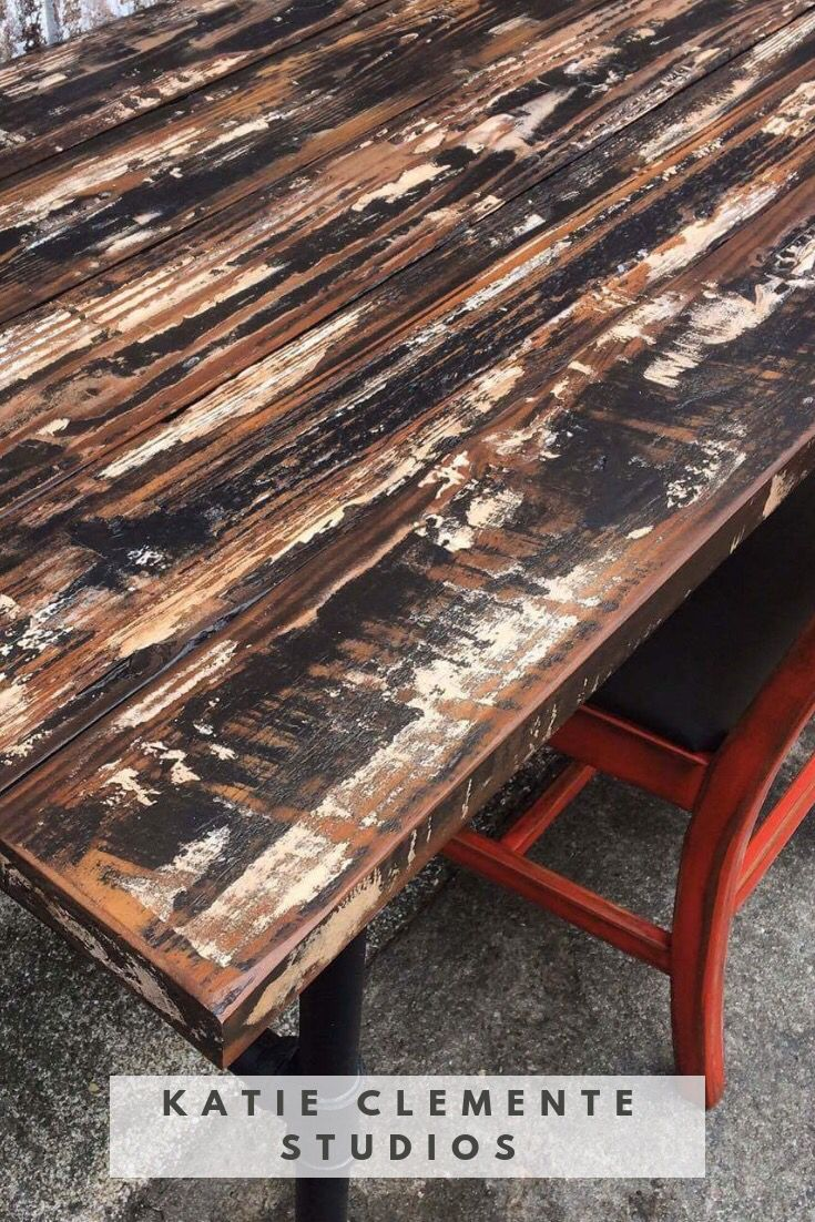 Gorgeous Weathered Wood Desk From Katie Clemente Studios. # Diy  #paintedfurniture #rustic #