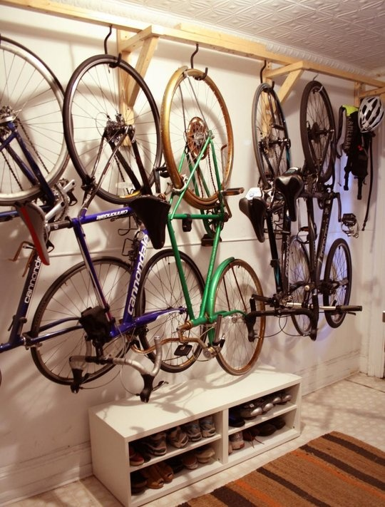garage bike storage, would be nice stained or painted to recess into wall