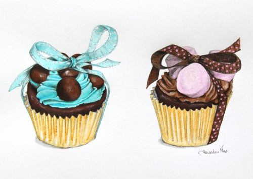 Alexandra Nea: Food Illustration, Cupcakes Alexandra, Chocolates, Chocolate Cupcakes, Sweet, Cupcake Art, Cupcake Illustrations, Alexandra Snow