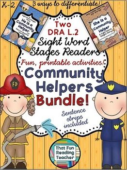 These Community Helpers Sight Word Stages readers (DRA/RR level 2) show young students a variety of Community Helpers, provide the vocabulary and an opportunity to practice sight words. Color and three versions of black and white reader are included to allow for easy differentiation.$