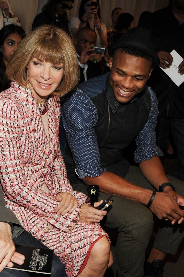 Pin for Later: Whoever's Next to Anna Wintour Has the Best Seat in the House Russell Westbrook Anna sat next to the combo guard at Rag & Bone's Spring 2014 show.