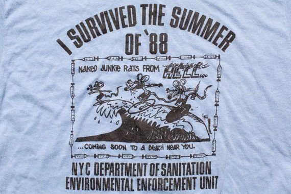 65214081 NYC Naked Junkie Rats from Hell T-Shirt, M, Vintage 1980s, 1988 New York  City Graphic Tee, Soft/Thin, Department of Sanitation, Environment