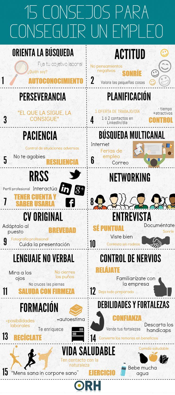 Hola: Una infografía con 15 consejos para conseguir un empleo. Vía Un saludo