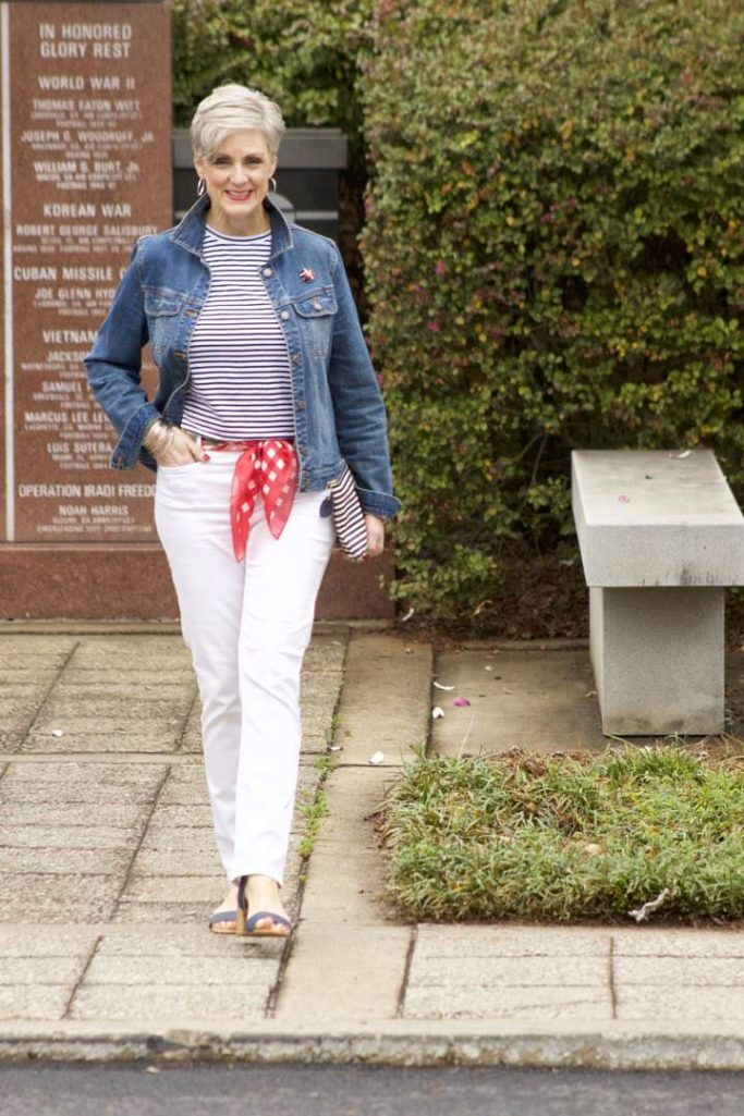 ann taylor white denim, urban outfitters stripe tee, old navy denim jacket, talbots scarf and clutch, target block heel sandals