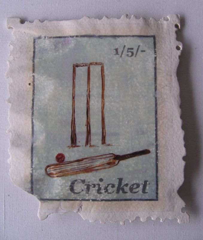 'Cricket - Then' Carved Stamp Sculptures . approx 20 cm x 20 cm $210..nz. Paying homage to the humble postage stamp and a playful exaggeration of scale. Commissions available with any image. www.lizmcauliffe.com