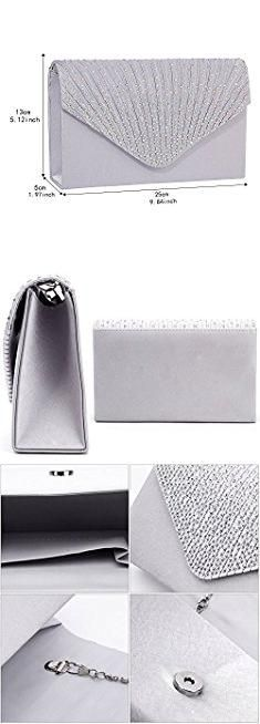 Silver Clutch Evening Bag. Gyeitee Women Rhinestone Frosted Evening Clutch Bag, Classic Pleated Envelope Clutch Shoulder Bag Handbag with Detachable Strap (Silver).  #silver #clutch #evening #bag #silverclutch #clutchevening #eveningbag