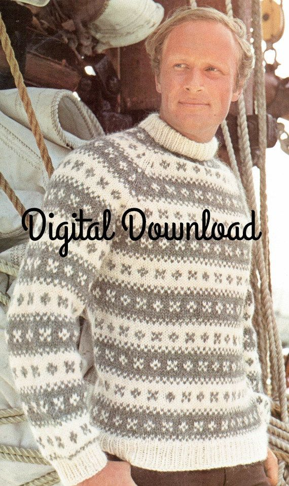 Vintage Icelandic Mens Pullover Mock Turtleneck Sweater Nordic Pattern Fair Isle, Scandinavian Yoke PDF  Instant Digital Download
