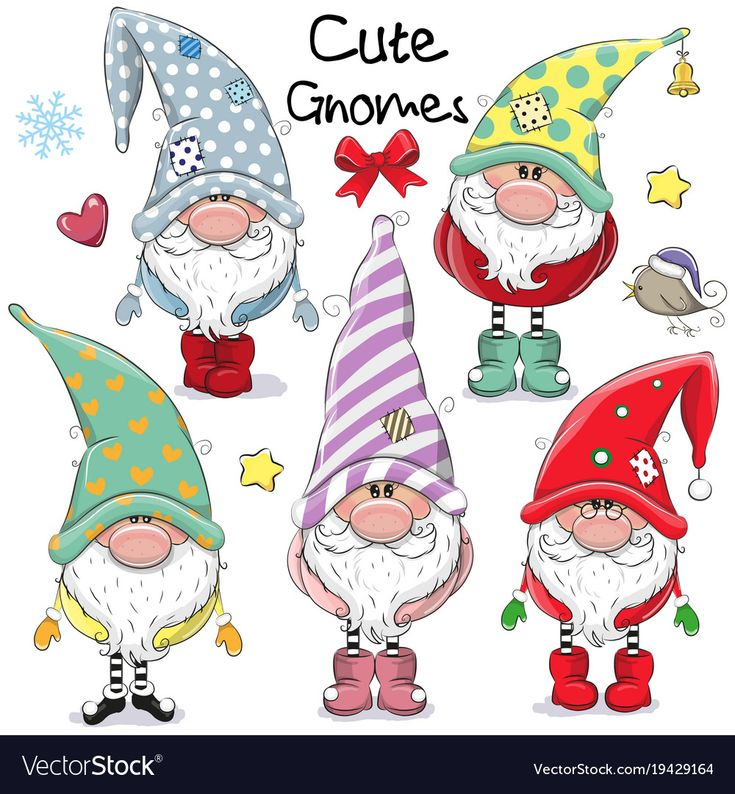Set of Cute Cartoon Gnomes isolated on a white bac…