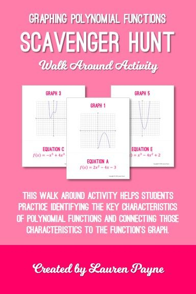 Graphing Polynomial Function Scavenger Hunt Activity - This walk around activity will help students practice identifying the key characteristics of polynomial functions and connecting those characteristics to graphs. Students begin the activity by choosing any one of the graphs posted around the classroom, and the equation of that graph will lead them to the next station.