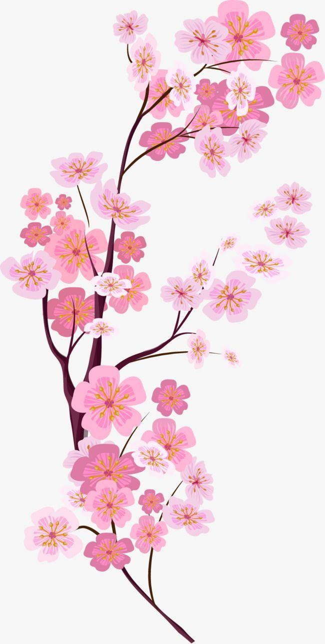 Vector Painted Pink Cherry Blossoms Vector Hand Painted Pink Cherry Blossoms Png And Vector With Transparent Bac Bunga Sakura Lukisan Bunga Pernikahan Bunga