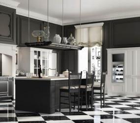 Черно-белая кухня с шахматным полом
