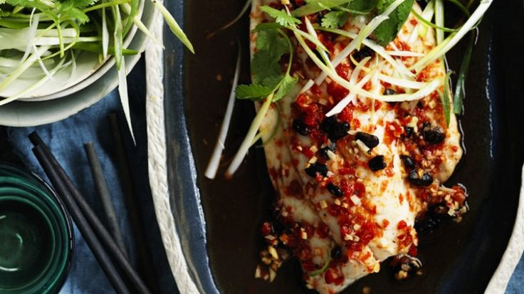 Steamed snapper with black beans and salted chillies