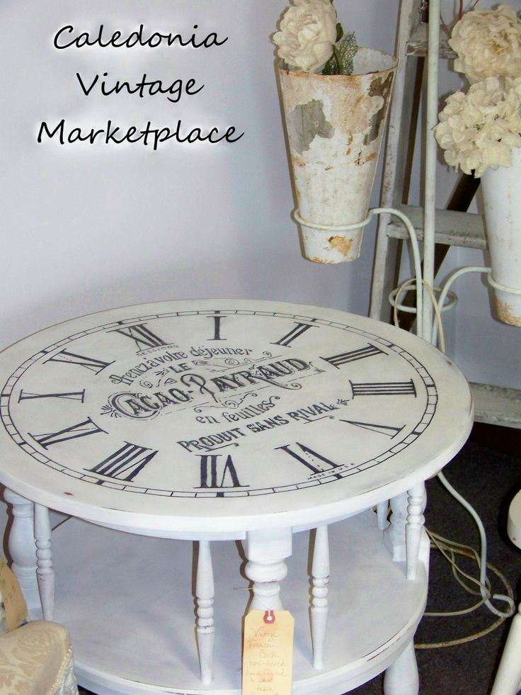 vintage french clock face table