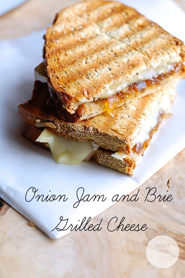 Bread, brie cheese, and @Williams-Sonoma's smoked onion jam are all you need to make a yummy, fancy, adult grilled cheese!! - Heart Love Weddings