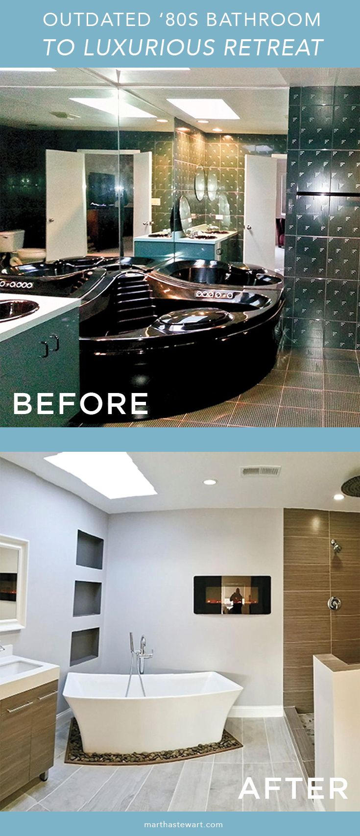 Before After See How An Outdated 80s Bathroom Becomes A Luxurious Retreat