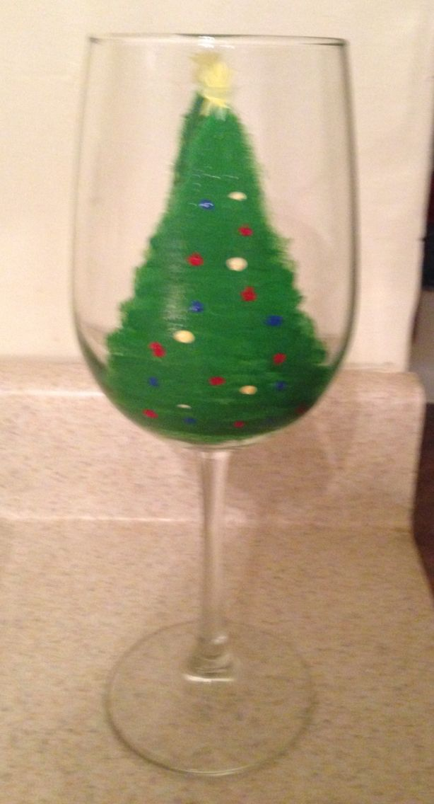 christmas theme glass i used enamel paint baked for half