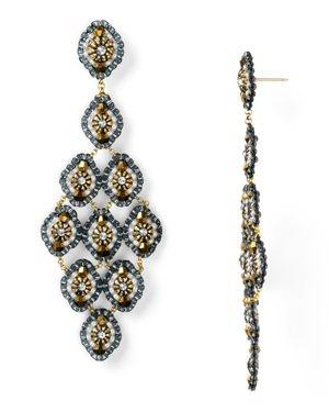 Miguel Ases Opalite and Swarovski Crystal Chandelier Earrings