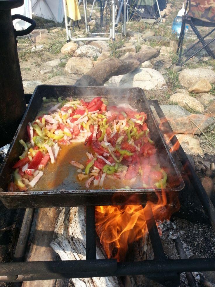Ресторан шашлык барбекью на открытом воздухе