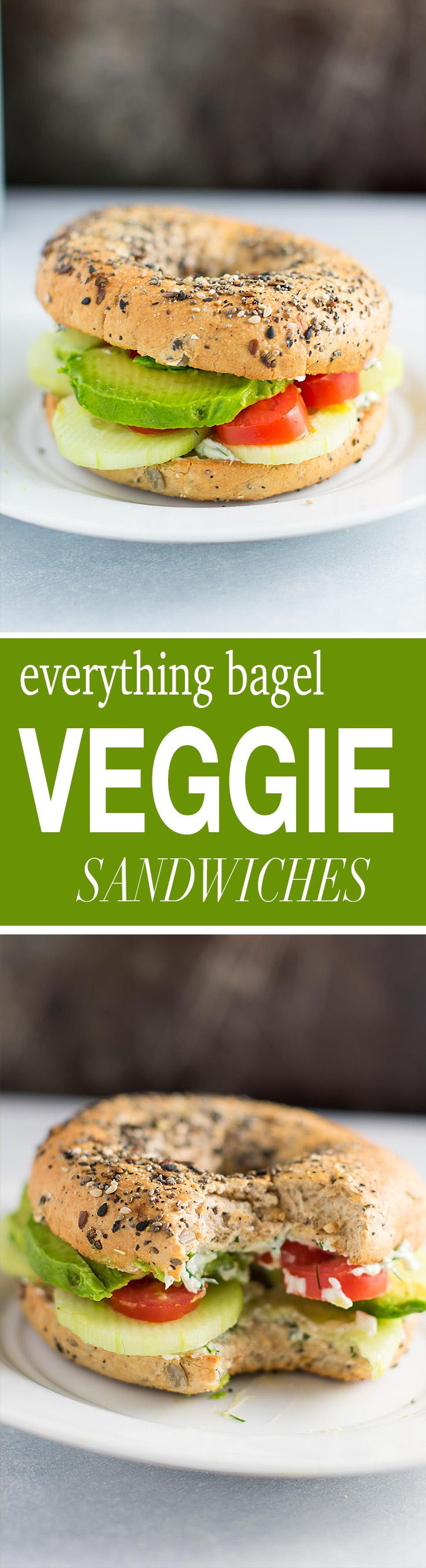 Everything bagel veggie sandwiches with garlic dill cream cheese. Add cucumbers, sliced tomato, avocado, or the veggies of your choice!