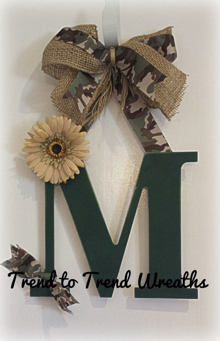 Camo Letter by TrendtoTrendWreaths on Etsy, $17.00