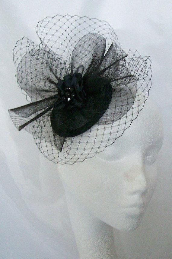 BLACK FASCINATOR Sinamay Bridal Fascinator with Black Veil Derby Mini Hat