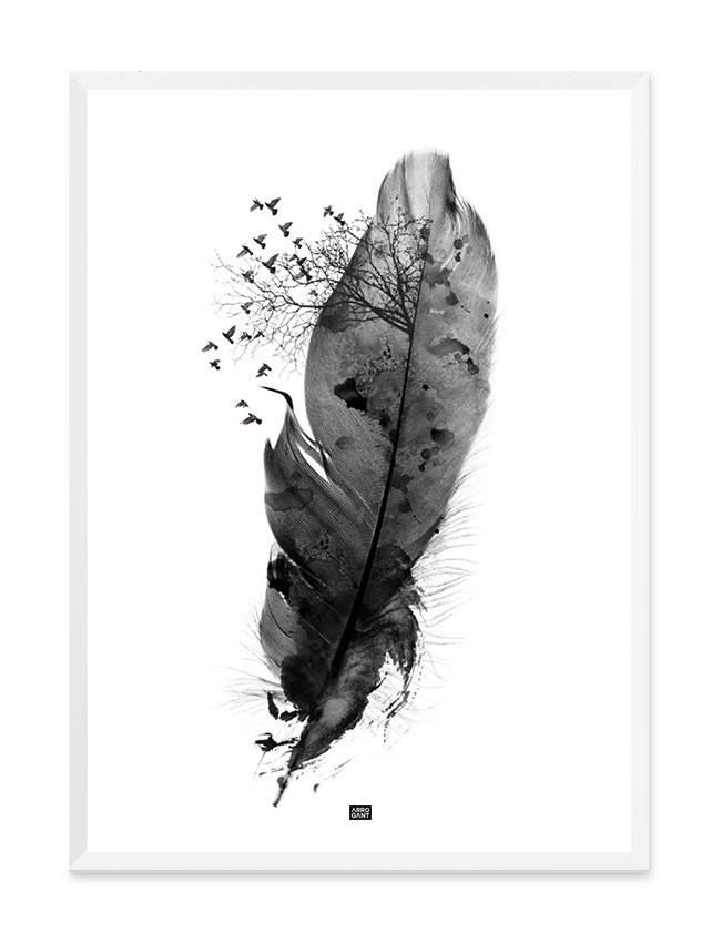 Black Feather Print - Wall Art