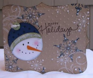 card- I love how the snowflakes are stamped in blues and whites!