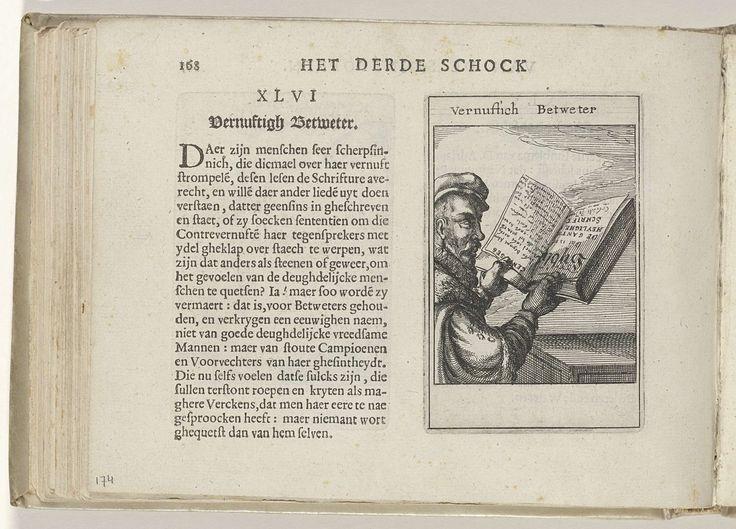 Roemer Visscher | XLVI Vernuftich Betweter, Roemer Visscher, Claes Jansz. Visscher (II), Willem Janszoon Blaeu, 1614 | XLVI Vernuftich Betweter. Derde schok. Onderdeel van 'Sinnepoppen', R. Visscher, 1614.