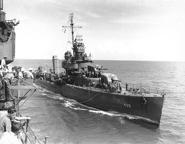 Destroyer USS Laffey steaming alongside another American ship, South Pacific, 4 Sep 1942 (US Naval History & Heritage Command)