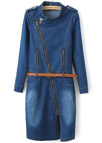 Blue Long Sleeve Epaulet Split Bleached Denim Dress