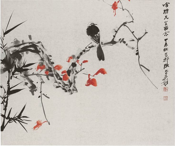 Zhang Daqian (1899-1983), Bird on Branch. Scroll, mounted and framed, ink and…