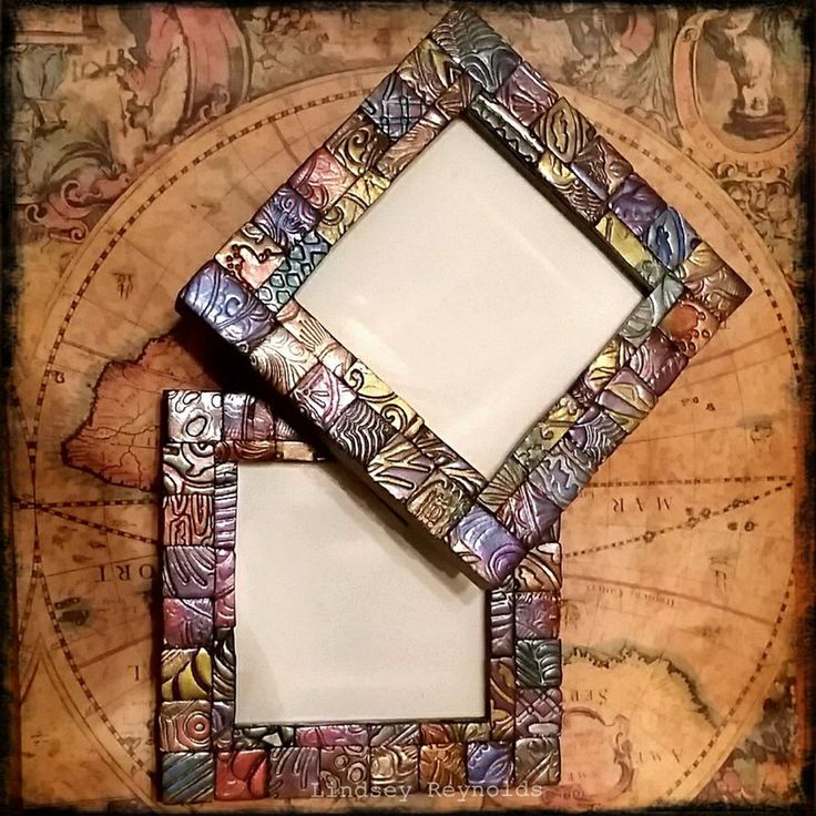 Polymer clay mosaic picture frame set