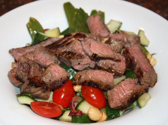 Thaise salade met biefstuk