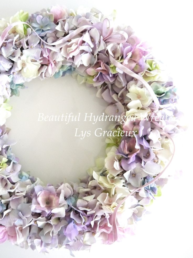 紫陽花リース♪  札幌ポーセラーツ・フラワー・クレイLys Gracieux〜リスグラシュ〜