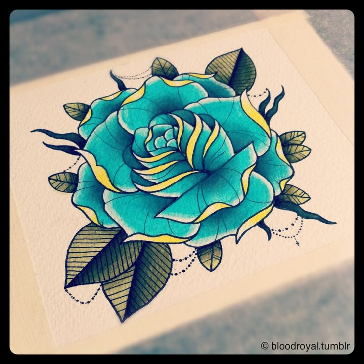 71 best images about Rose | Neo Traditional on Pinterest ... Traditional Blue Rose Tattoo