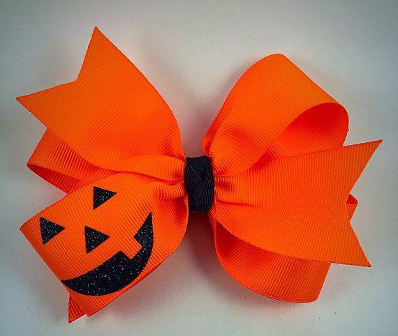 Arco del pelo de calabaza cara vestido pelo naranja neón /