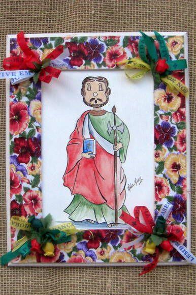 São Judas Tadeu pintado a mão em tela ( técnica mista, óleo e acrílica).  Moldura trabalhada com tecido,fitas e flores.  Consultar disponibilidade do tecido.  Pode ser usado como porta retratos ou pendurado na parede.