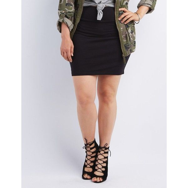 Charlotte Russe Bodycon Mini Skirt ($5) ❤ liked on Polyvore featuring plus size women's fashion, plus size clothing, plus size skirts, plus size mini skirts, black, womens plus size skirts, bodycon skirt, plus size body con skirt and charlotte russe