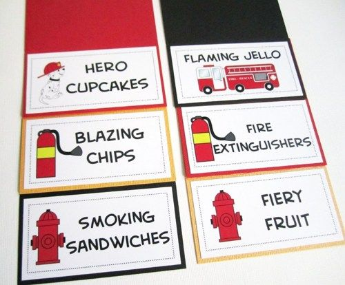 Firefighter Food Tent Cards with Dalmatian and Fire Truck, Customized