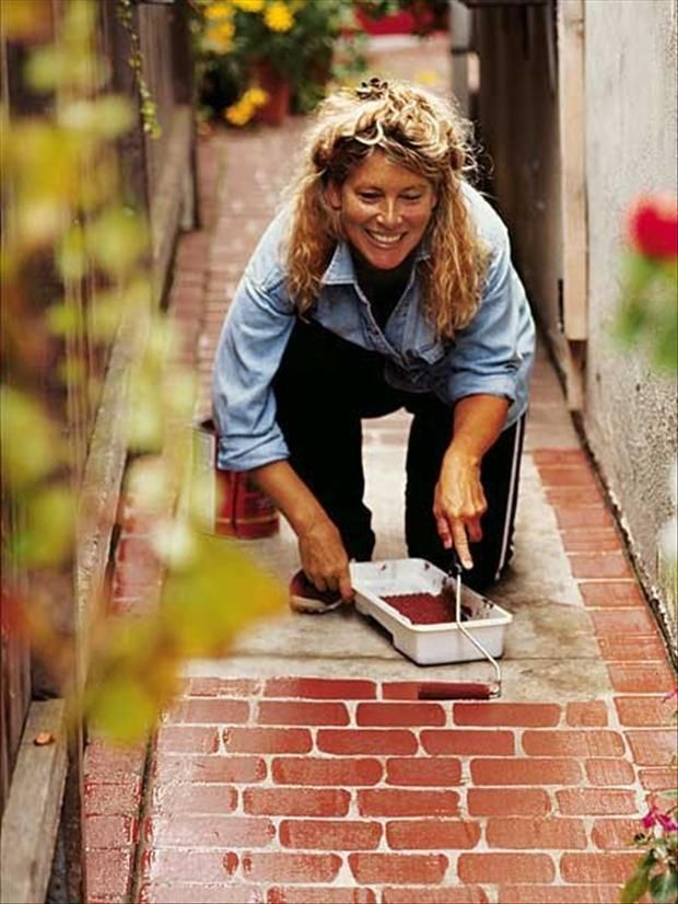 35 Crafty Ideas...so much good stuff here! Wish I could post more than one picture.: Ideas, Faux Brick, Painting Brick, Outdoor, Bricks, Diy, Garden