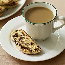Slow down and savor the morning cup of Joe with this rich Chocolate Chip-Cherry Biscotti #recipe. Dunk away!  #WWloves 4 SmartPoints